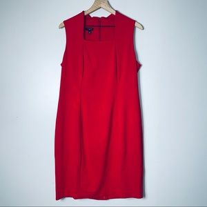 NWT Talbots Red Square Neck Sheath Dress